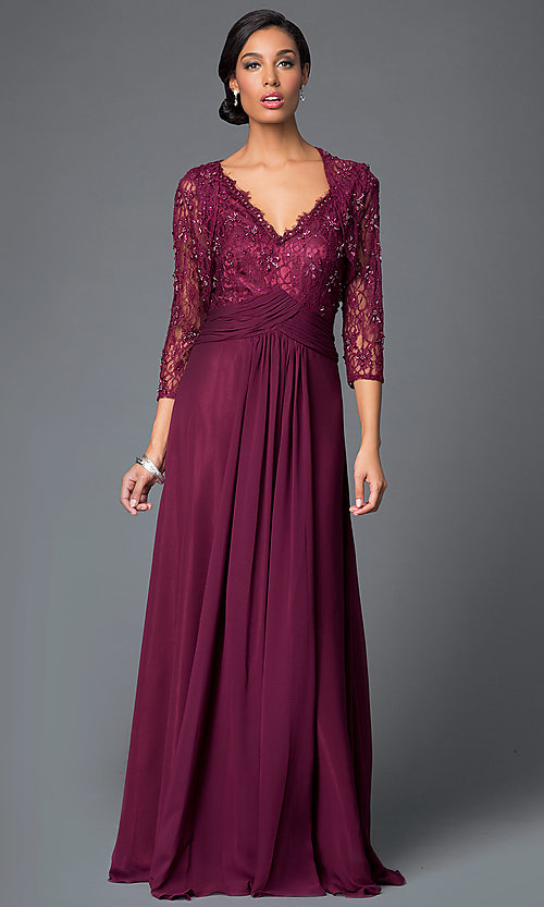 Removable-3/4-Sleeve-Jacket Long Formal Gown