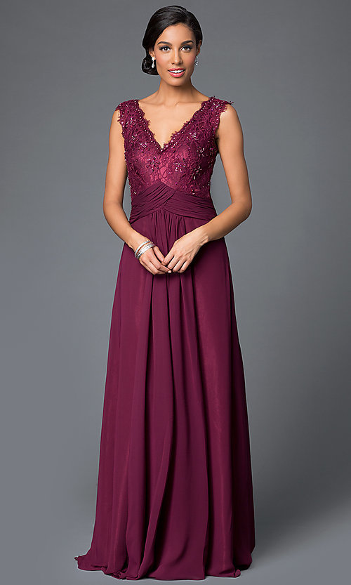 Image of long formal gown with removable 3/4-sleeve jacket. Style: FB-GL1397Y Detail Image 1