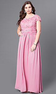 Image of cap-sleeve long formal dress with lace bodice. Style: FB-GL1398Y Detail Image 2