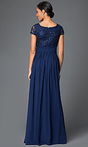 Image of cap-sleeve long formal dress with lace bodice. Style: FB-GL1398Y Back Image