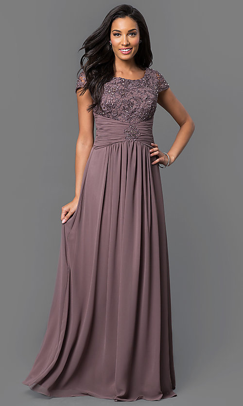 Image of cap-sleeve long formal dress with lace bodice. Style: FB-GL1398Y Detail Image 1