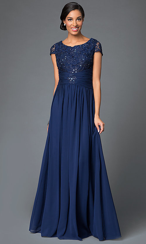 Image of cap-sleeve long formal dress with lace bodice. Style: FB-GL1398Y Front Image