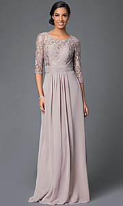 Image of Elizabeth K lace bodice gown with three quarter length sleeves. Style: FB-GL1409D Front Image