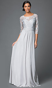 Image of Elizabeth K lace bodice gown with three quarter length sleeves. Style: FB-GL1409D Detail Image 1