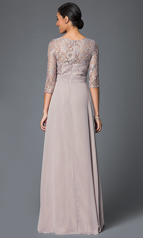 Image of Elizabeth K lace bodice gown with three quarter length sleeves. Style: FB-GL1409D Back Image