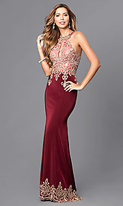 Image of keyhole long formal embellished Dave and Johnny dress. Style: DJ-2325 Front Image