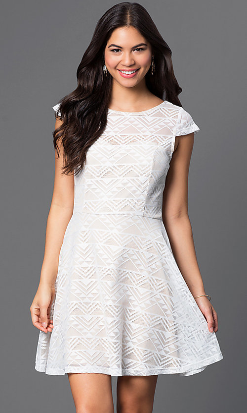 Image of cap-sleeve ivory-white short dress Style: BBL-3IMCL0103 Front Image