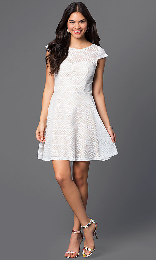 Image of cap-sleeve ivory-white short dress Style: BBL-3IMCL0103 Detail Image 1