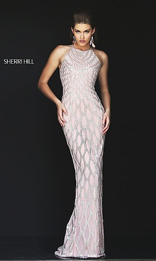 Long Sleeveless Beaded Formal Gown by Sherri Hill