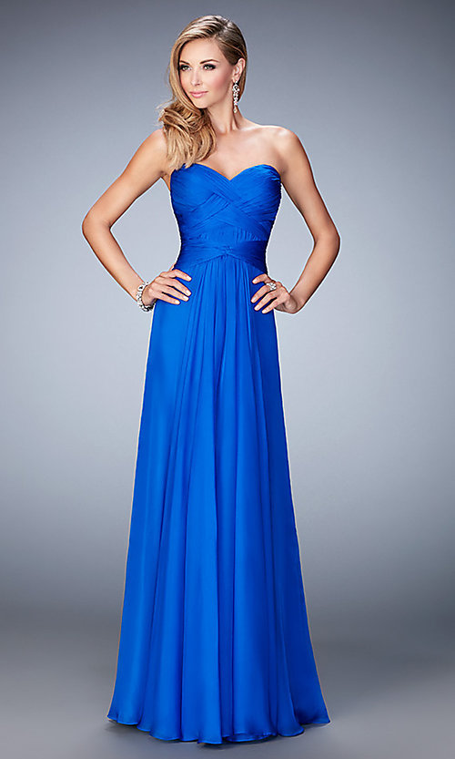Image of open-back La Femme long sweetheart formal gown. Style: LF-22815 Front Image