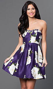 Image of short strapless floral-print linen party dress. Style: MY-8825PZ1P Front Image