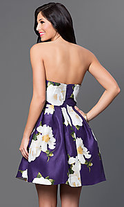 Image of short strapless floral-print linen party dress. Style: MY-8825PZ1P Back Image