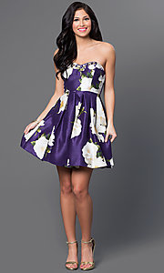 Image of short strapless floral-print linen party dress. Style: MY-8825PZ1P Detail Image 1