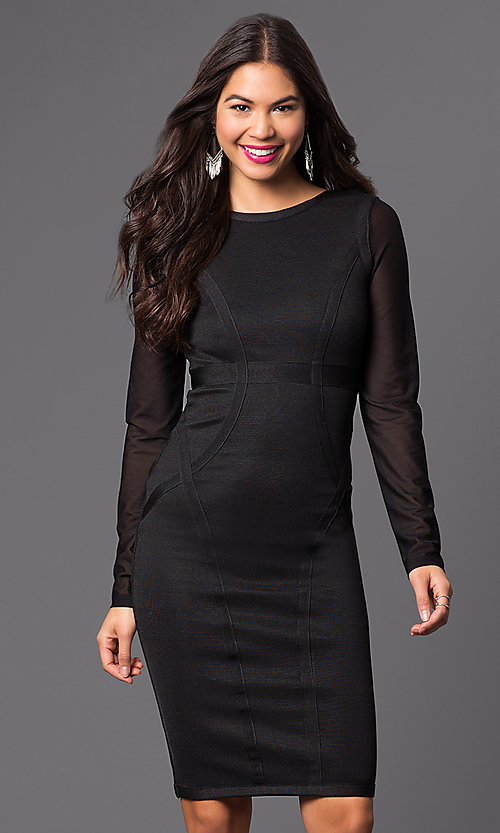 Image of long-sleeve spandex knee-length dress Style: WC-K4169 Front Image
