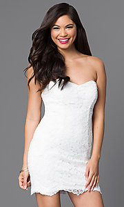 Image of strapless short white lace dress. Style: DMO-J313856 Front Image