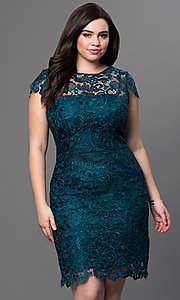 Image of plus-size short lace party dress with sleeves. Style: NA-5064 Front Image