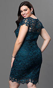 Image of plus-size short lace party dress with sleeves. Style: NA-5064 Back Image