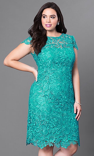 1b49db9234b Plus-Size Short Lace Party Dress with Sleeves