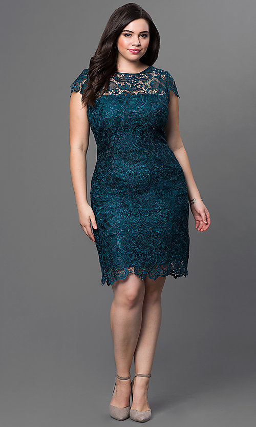 Image of plus-size short lace party dress with sleeves. Style: NA-5064 Detail Image 1