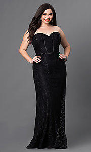 Image of long formal lace evening dress with lace-up corset Style: DQ-9062 Detail Image 3
