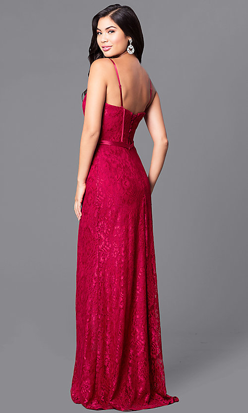 Image of long formal lace evening dress with lace-up corset Style: DQ-9062 Back Image