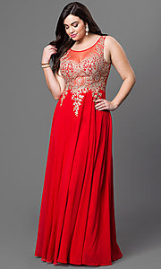 Image of plus-size long formal prom dress with sheer back.  Style: DQ-9191P Front Image