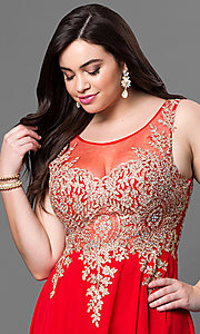 Image of plus-size long formal prom dress with sheer back.  Style: DQ-9191P Detail Image 1