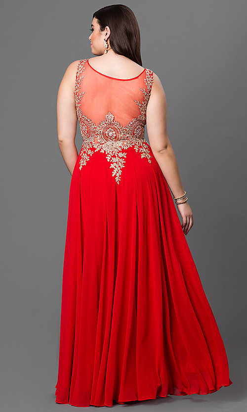 Image of plus-size long formal prom dress with sheer back.  Style: DQ-9191P Back Image