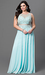 Image of illusion plus-size long prom dress with beading. Style: DQ-9150P Front Image