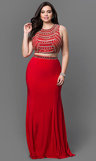 Plus Size Two Piece Beaded Bodice and Open Back