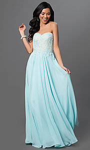 Image of strapless long formal gown with lace corset bodice. Style: DQ-9312 Detail Image 1