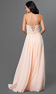 Image of strapless long formal gown with lace corset bodice. Style: DQ-9312 Back Image