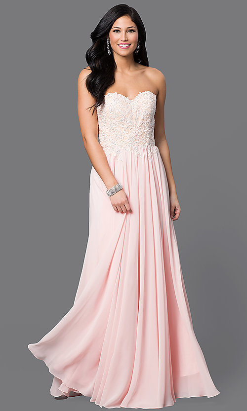 Image of strapless long formal gown with lace corset bodice. Style: DQ-9312 Detail Image 2