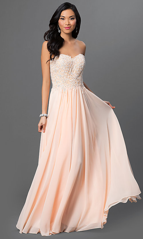 Image of strapless long formal gown with lace corset bodice. Style: DQ-9312 Front Image