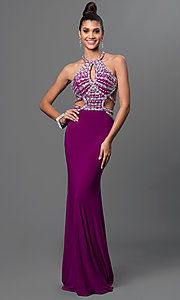 Image of long open-back jeweled-bodice formal gown. Style: DQ-9360 Detail Image 1