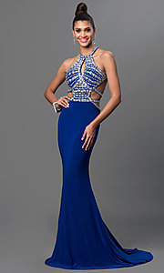 Image of long open-back jeweled-bodice formal gown. Style: DQ-9360 Front Image