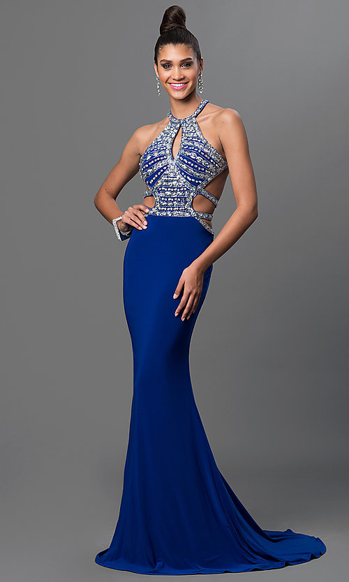 Long Open-Back Jeweled-Bodice Formal Gown