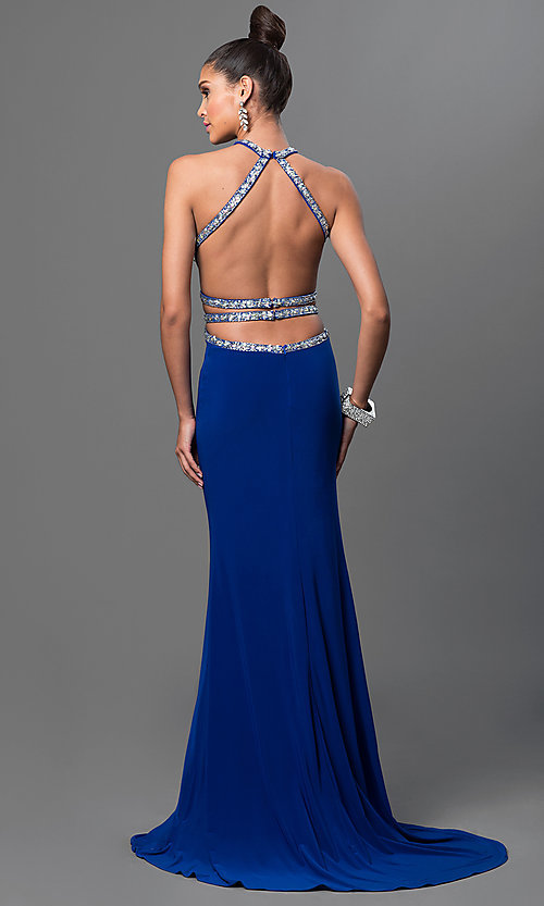 Image of long open-back jeweled-bodice formal gown. Style: DQ-9360 Back Image