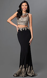 Image of floor-length lace two-piece mermaid dress. Style: DQ-9391 Detail Image 2
