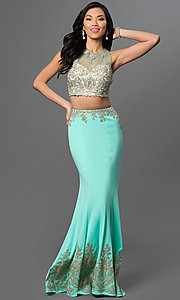 Image of floor-length lace two-piece mermaid dress. Style: DQ-9391 Detail Image 1