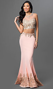 Image of floor-length lace two-piece mermaid dress. Style: DQ-9391 Front Image