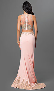 Image of floor-length lace two-piece mermaid dress. Style: DQ-9391 Back Image