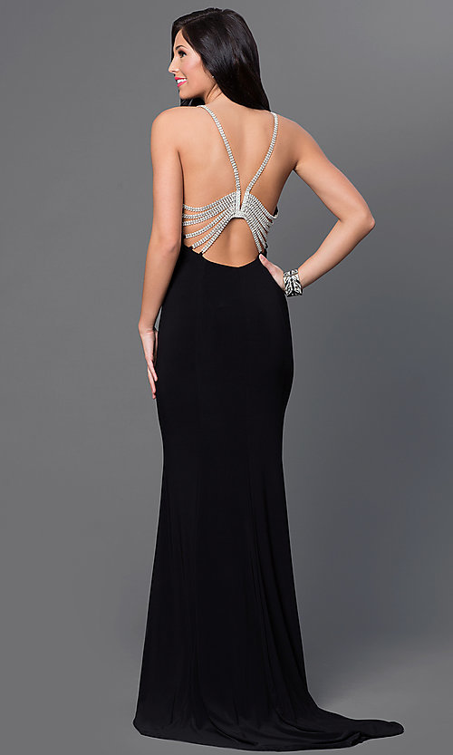Floor-Length Rhinestone-Back Black Evening Gown