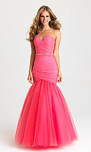 Image of strapless long mermaid formal prom dress. Style: NM-16-354 Front Image