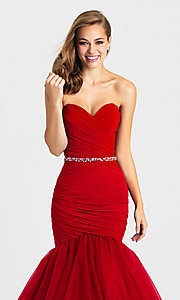 Image of strapless long mermaid formal prom dress. Style: NM-16-354 Detail Image 1