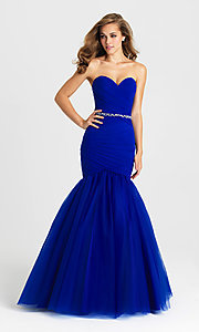 Image of strapless long mermaid formal prom dress. Style: NM-16-354 Detail Image 2