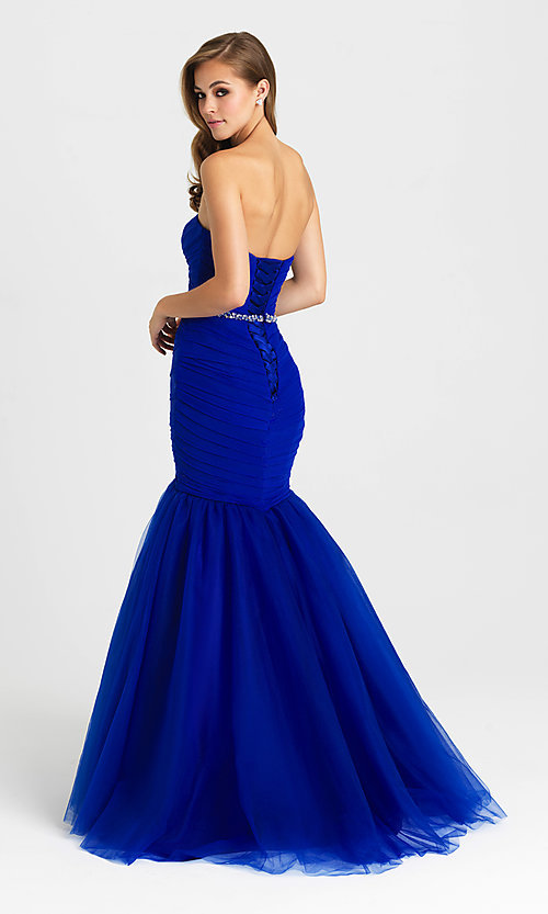 Image of strapless long mermaid formal prom dress. Style: NM-16-354 Back Image