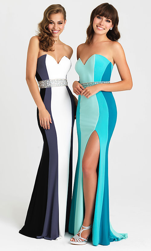 Image of Madison James long strapless prom dress with beads. Style: NM-16-381 Front Image