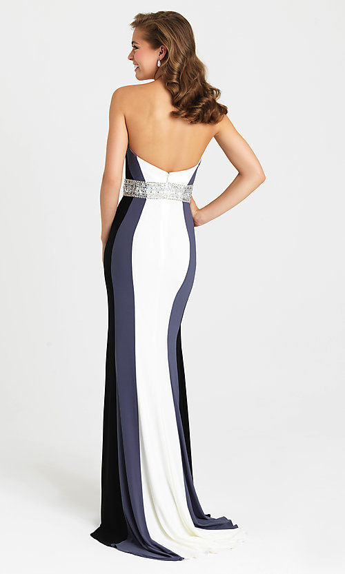 Image of Madison James long strapless prom dress with beads. Style: NM-16-381 Back Image