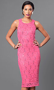 Image of sleeveless knee-length sequined-lace dress Style: MB-7060 Front Image